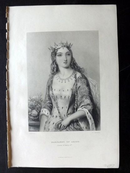 Howitt 1868 Antique Portrait Print. Margaret of Anjou, Queen of Henry 6th
